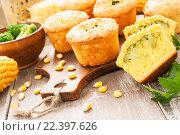 Купить «Несладкие овощные маффины с капустой брокколи», фото № 22397626, снято 30 марта 2016 г. (c) Надежда Мишкова / Фотобанк Лори