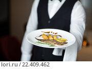 Купить «Handsome waiter presenting meal», фото № 22409462, снято 23 ноября 2015 г. (c) Wavebreak Media / Фотобанк Лори