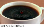 Купить «Drop falling into cup of coffee in cinemagraph», видеоролик № 22410594, снято 22 ноября 2017 г. (c) Wavebreak Media / Фотобанк Лори