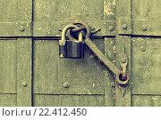Купить «Навесной замок на старой двери», фото № 22412450, снято 26 марта 2016 г. (c) Зезелина Марина / Фотобанк Лори