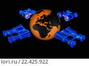 Купить «Синие бинокли вокруг Земного шара на черном фоне», иллюстрация № 22425922 (c) Guru3d / Фотобанк Лори