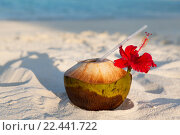 Купить «coconut drink on exotic tropical maldives beach», фото № 22441722, снято 11 февраля 2016 г. (c) Syda Productions / Фотобанк Лори