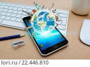 Купить «Modern mobile phone with digital world landmarks», фото № 22446810, снято 13 ноября 2018 г. (c) PantherMedia / Фотобанк Лори