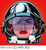 Купить «emoticon rage boiling water Emoji face woman astronaut retro», фото № 22449362, снято 20 сентября 2019 г. (c) PantherMedia / Фотобанк Лори