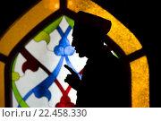Купить «Мулла учит верующих правильно совершать намаз на фоне витража в Московской соборной мечети во время фестиваля Священного Корана, Россия», фото № 22458330, снято 27 марта 2016 г. (c) Николай Винокуров / Фотобанк Лори