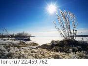 Купить «Яркое солнце над замерзшей рекой Обь», фото № 22459762, снято 27 марта 2016 г. (c) Алексей Маринченко / Фотобанк Лори