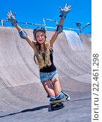 Купить «Teen girl rides his skateboard», фото № 22461298, снято 27 августа 2015 г. (c) Gennadiy Poznyakov / Фотобанк Лори