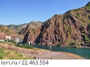 Горный пейзаж с видом реки Вахш. Стоковое фото, фотограф Егор Ребенок / Фотобанк Лори