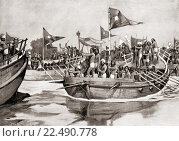 Mahmud of Ghazni attacking the Jats on the Chenab River, Northern India in 1026. YamÄ«n-ud-Dawla Abul-QÄ. á¹£im MaḥmŠ«d ibn SebüktegÄ«n, aka Mahmud of... Редакционное фото, фотограф Classic Vision / age Fotostock / Фотобанк Лори