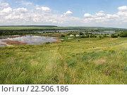 Летний пейзаж: вид с холма на пруды, сельские домики и небо с облаками. Стоковое фото, фотограф andreyrostov / Фотобанк Лори
