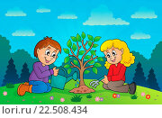 Купить «Kids planting tree theme image 3 - picture illustration.», фото № 22508434, снято 17 февраля 2020 г. (c) easy Fotostock / Фотобанк Лори