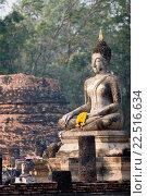 Купить «Buddha statue and ancient brick chedi Sukhothai Thailand.», фото № 22516634, снято 10 февраля 2007 г. (c) age Fotostock / Фотобанк Лори