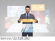 Купить «happy businessman with weather forecast app», фото № 22528282, снято 15 марта 2014 г. (c) Syda Productions / Фотобанк Лори