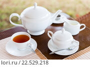 Купить «close up of tea service at restaurant or teahouse», фото № 22529218, снято 16 февраля 2016 г. (c) Syda Productions / Фотобанк Лори
