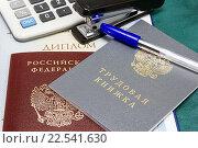 Купить «Трудовая книжка, паспорт российского гражданина и диплом. Оформление кадровых документов», эксклюзивное фото № 22541630, снято 4 апреля 2016 г. (c) Наталья Осипова / Фотобанк Лори