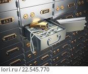 Купить «Open safe deposit box with money, jewels and golden ingot.», фото № 22545770, снято 15 декабря 2017 г. (c) Maksym Yemelyanov / Фотобанк Лори