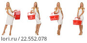 Купить «Woman in shopping concept isolated on white», фото № 22552078, снято 6 сентября 2014 г. (c) Elnur / Фотобанк Лори