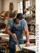 Купить «Carpenter working on his craft», фото № 22576078, снято 14 февраля 2016 г. (c) Wavebreak Media / Фотобанк Лори