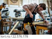 Купить «Carpenter working on his craft», фото № 22576178, снято 14 февраля 2016 г. (c) Wavebreak Media / Фотобанк Лори