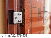 Купить «Сломанная петля на дешевой двери», фото № 22579538, снято 18 марта 2016 г. (c) Иванов Алексей / Фотобанк Лори