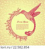 Круглая рамка для текста с птицей. Стоковая иллюстрация, иллюстратор Шильникова Дарья / Фотобанк Лори