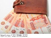Купить «Купюры 5000 рублей и кошелек», эксклюзивное фото № 22598222, снято 15 апреля 2016 г. (c) Яна Королёва / Фотобанк Лори