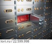Купить «Safe deposit boxes with open one safe cell.», фото № 22599998, снято 19 ноября 2018 г. (c) Maksym Yemelyanov / Фотобанк Лори