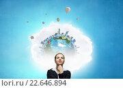 Купить «Pensive woman and her thoughts», фото № 22646894, снято 4 августа 2020 г. (c) Sergey Nivens / Фотобанк Лори