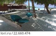 Купить «hammock at hotel resort on tropical beach», видеоролик № 22660474, снято 13 февраля 2016 г. (c) Syda Productions / Фотобанк Лори