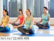 Купить «happy pregnant women exercising yoga in gym», фото № 22669498, снято 5 марта 2016 г. (c) Syda Productions / Фотобанк Лори