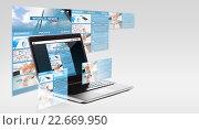 Купить «laptop computer with world news on screen», фото № 22669950, снято 14 ноября 2013 г. (c) Syda Productions / Фотобанк Лори