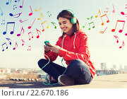 Купить «happy young woman with smartphone and headphones», фото № 22670186, снято 19 марта 2015 г. (c) Syda Productions / Фотобанк Лори