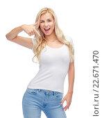 Купить «happy young woman or teenage girl in white t-shirt», фото № 22671470, снято 13 февраля 2016 г. (c) Syda Productions / Фотобанк Лори