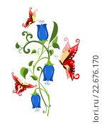 Цветок и бабочки на белом фоне. Стоковая иллюстрация, иллюстратор Лариса К / Фотобанк Лори
