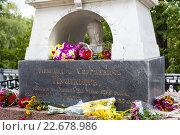 Купить «Фрагмент памятника на могиле поэта А.С.Пушкина», фото № 22678986, снято 22 августа 2014 г. (c) Родион Власов / Фотобанк Лори