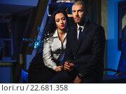 Купить «Чувственная брюнетка и красавец бизнесмен. Понятие служебный роман», фото № 22681358, снято 5 марта 2015 г. (c) Alexander Tihonovs / Фотобанк Лори
