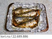 Рыба фаршированная со специями, запеченная в фольге на противне. Стоковое фото, фотограф Михаил Степанов / Фотобанк Лори