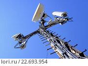 Купить «Антенны базовых станций сотовой связи», фото № 22693954, снято 21 февраля 2014 г. (c) Сергеев Валерий / Фотобанк Лори