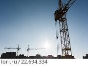 Три строительных крана. Стоковое фото, фотограф Dmytro Kohut / Фотобанк Лори