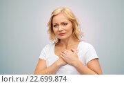 Купить «unhappy woman suffering from heartache», фото № 22699874, снято 27 ноября 2015 г. (c) Syda Productions / Фотобанк Лори