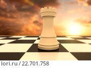 Купить «Composite image of white rook on chess board», фото № 22701758, снято 18 ноября 2018 г. (c) Wavebreak Media / Фотобанк Лори