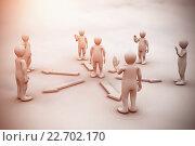 Купить «Composite image of white 3dman requesting connection with surrounding 3d-men greeting him», иллюстрация № 22702170 (c) Wavebreak Media / Фотобанк Лори