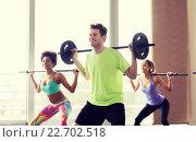 Купить «group of people exercising with barbell in gym», фото № 22702518, снято 5 апреля 2015 г. (c) Syda Productions / Фотобанк Лори