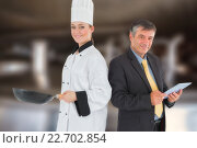 Купить «Composite image of businessman holding digital tablet and chef with frying pan», фото № 22702854, снято 16 февраля 2019 г. (c) Wavebreak Media / Фотобанк Лори