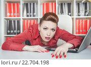 Купить «Уставшая женщина на работе», фото № 22704198, снято 26 января 2014 г. (c) Darkbird77 / Фотобанк Лори