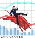 Купить «Risky but successful rodeo on Stock Exchange», фото № 22709458, снято 15 апреля 2016 г. (c) Владимир Мельников / Фотобанк Лори
