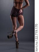 Купить «Стройная девушка в неглиже леопардовой расцветки», фото № 22719170, снято 17 января 2014 г. (c) Гурьянов Андрей / Фотобанк Лори