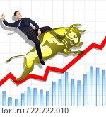 Купить «Risky but successful rodeo on Stock Exchange», фото № 22722010, снято 19 июля 2018 г. (c) Владимир Мельников / Фотобанк Лори