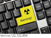 """Купить «Концептуальная клавиатура - Клавиша """"Warning!"""" (""""Предупреждение!"""") с изображением символа радиации», фото № 22722850, снято 30 сентября 2011 г. (c) Самохвалов Артем / Фотобанк Лори"""