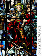 Купить «Stained glass window. The arrest of Joan of Arc. Max Ingrand (1908-1969). Notre-Dame de Rouen Cathedral.», фото № 22743902, снято 24 апреля 2019 г. (c) age Fotostock / Фотобанк Лори
